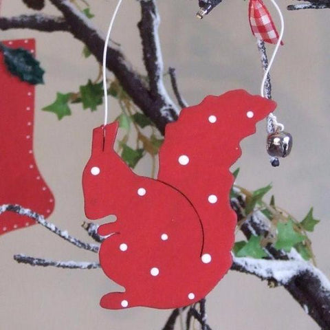 Spotty Wooden Squirrel Decoration