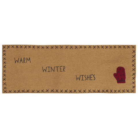 'Warm Wishes' Felt Mitten Design  Runner, 8 x 24""