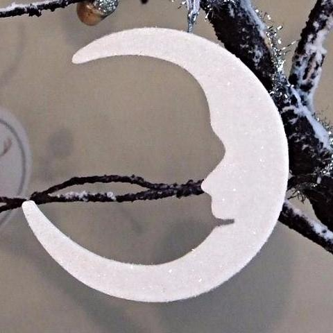 Wooden Crescent Moon Decoration
