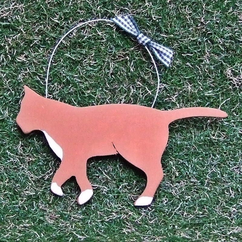 Wooden Walking Ginger Cat Decoration