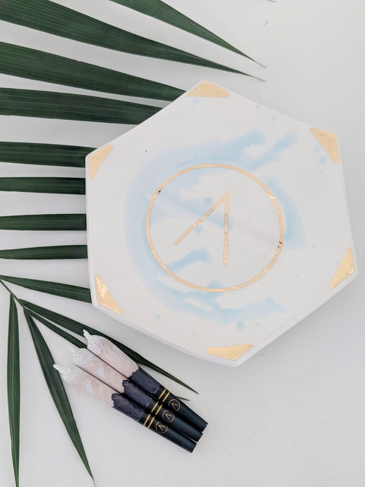 Marble Blue RAP (Rolling-Ash-Packing) Tray