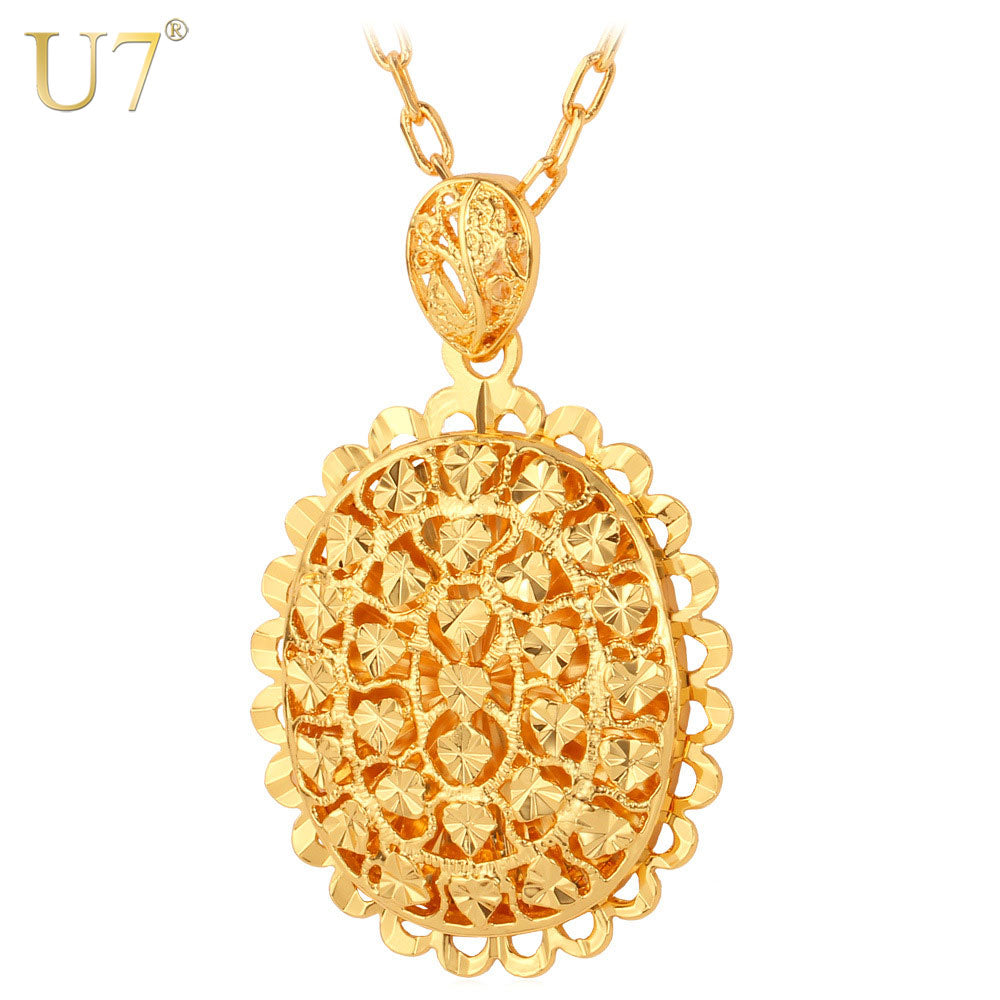 U7 Hollow Heart Pendant Necklace Trendy Gold Color Love Heart ...