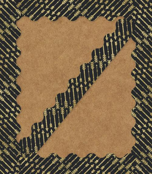 Gold Glitter Arrows Scalloped Borders