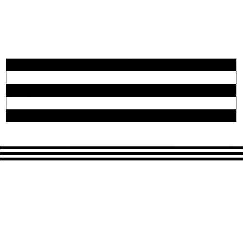Black & White Stripes Straight Borders