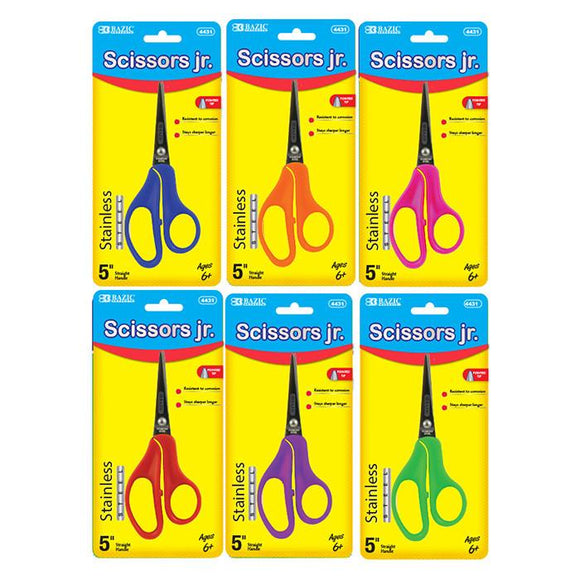 Pointed Tip School Scissors Assorted Colors