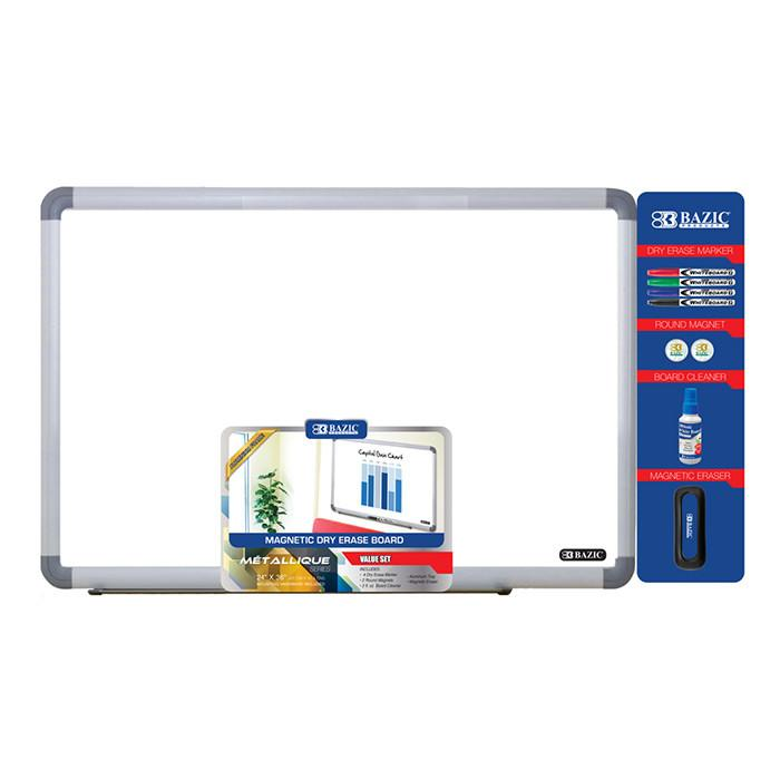 "24"" x 36"" Aluminium Frame Magnetic Dry Erase Board Value Pack"