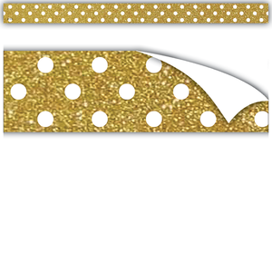 Gold Shimmer with White Polka Dots Clingy Thingies¨ Strips