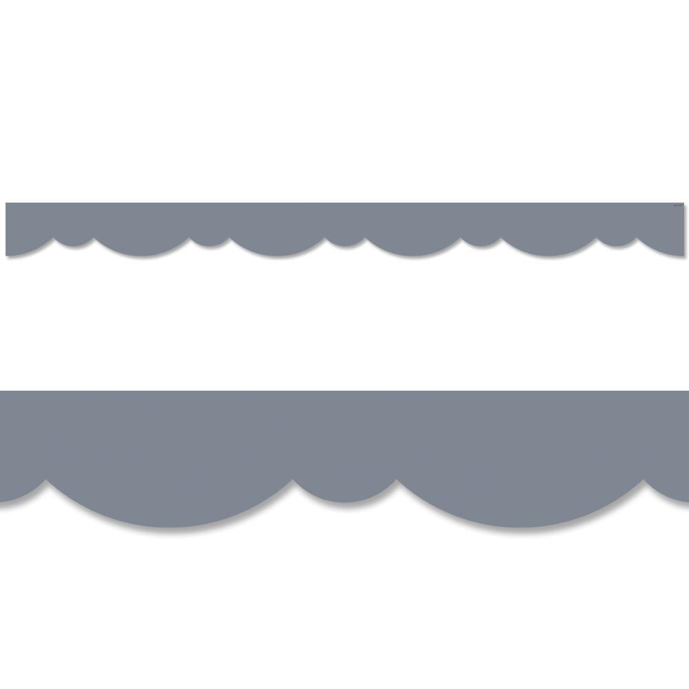 Charcoal Gray Stylish Scallops Border
