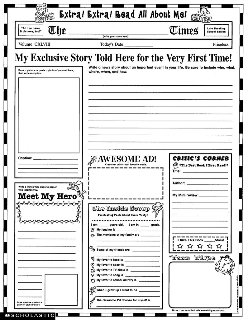 Extra Extra! Read All About Me - Grades 3-6