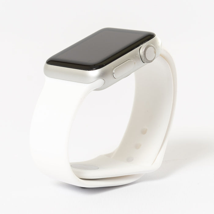 Apple Watch, Silver Aluminum Case with White Sport Band