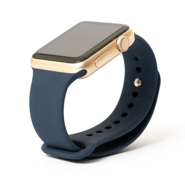 Apple Watch, Gold Aluminum Case with Midnight Blue Sport Band