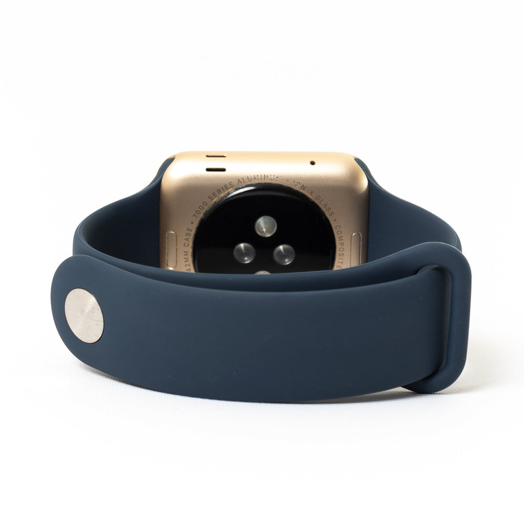 Apple Apple Watch, Gold Aluminum Case with Midnight Blue Sport Band - Mac-Warehouse