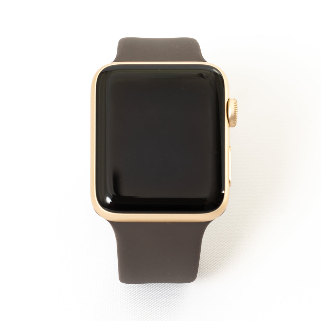 Apple Apple Watch, Gold Aluminum Case with Cocoa Sport Band - Mac-Warehouse