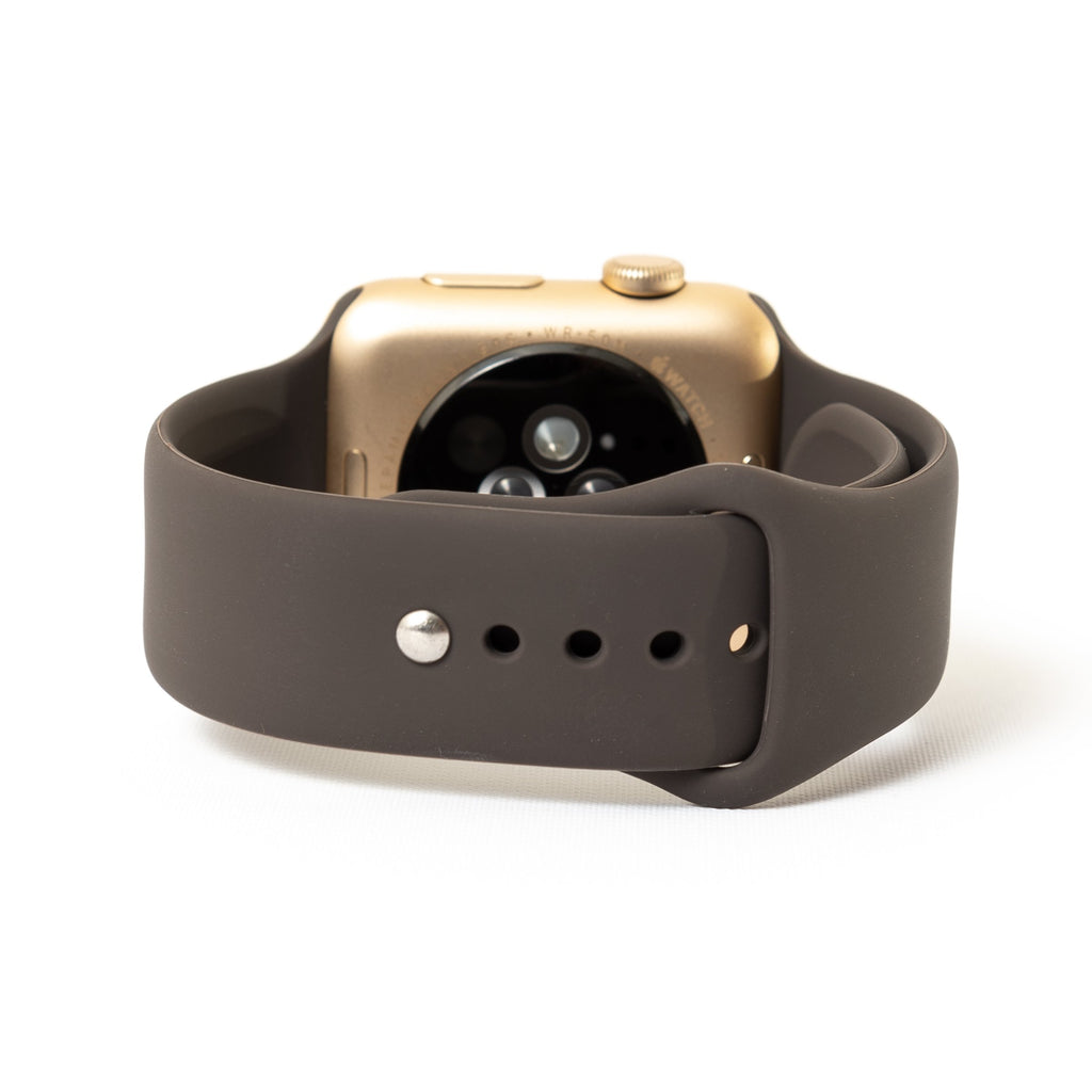 Apple Watch, Gold Aluminum Case with Cocoa Sport Band