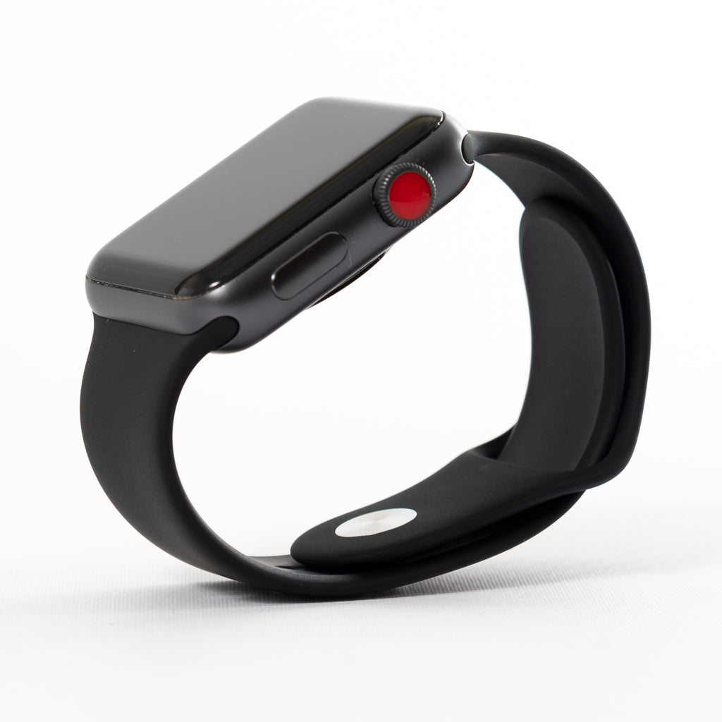 new style 0faab 5ac6c Apple Watch, Series 3, Space Gray Aluminum Case with Gray Sport Band