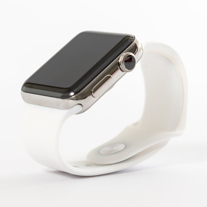 Apple Watch, Series 2, Stainless Steel Case with White Sport Band