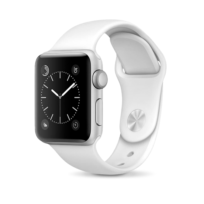 Apple Apple Watch, Black Stainless Steel Case with White Sport Band - Mac-Warehouse