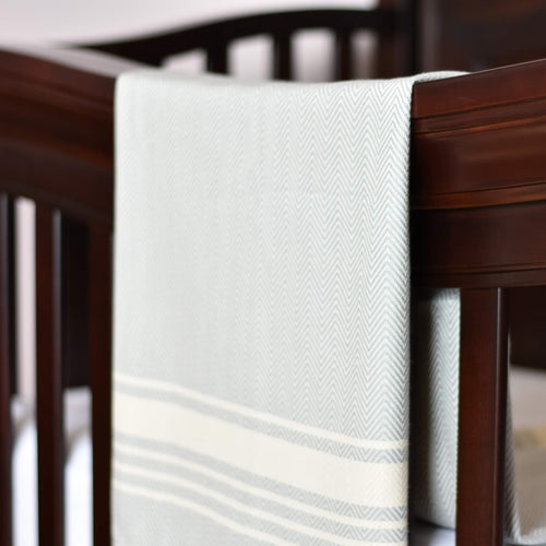 Baby Blanket - Chevron Stripe - Light Gray