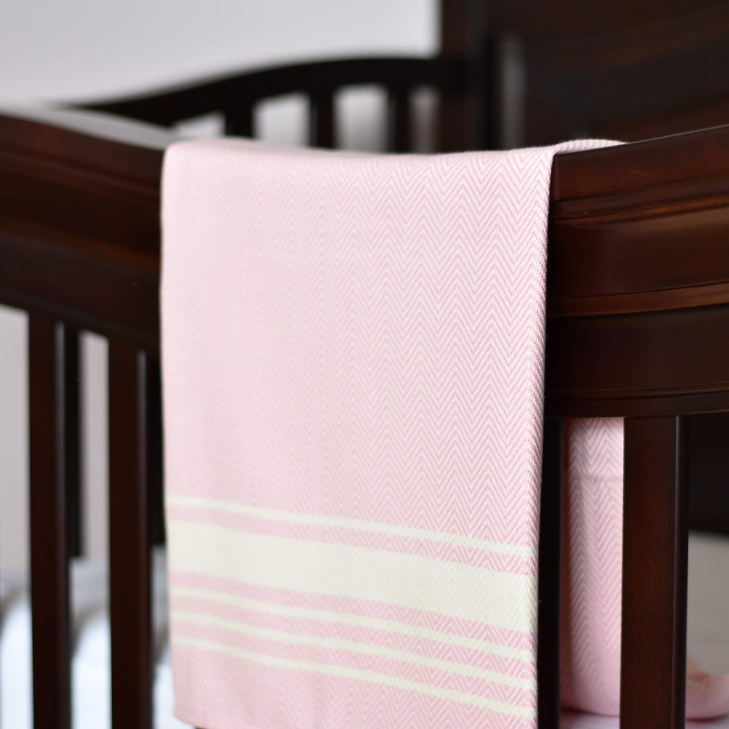 Baby Blanket - Chevron Stripe - Soft Pink