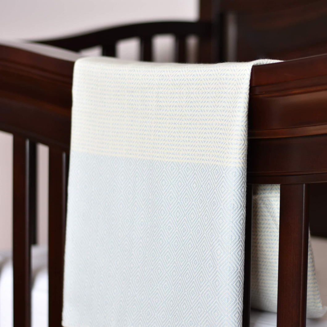 Baby Blanket - Diamond Stripe - Soft Blue