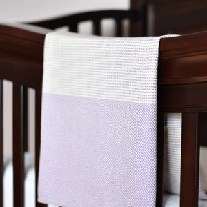 Baby Blanket - Diamond Stripe - Purple