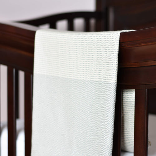 Baby Blanket - Diamond Stripe - Light Gray