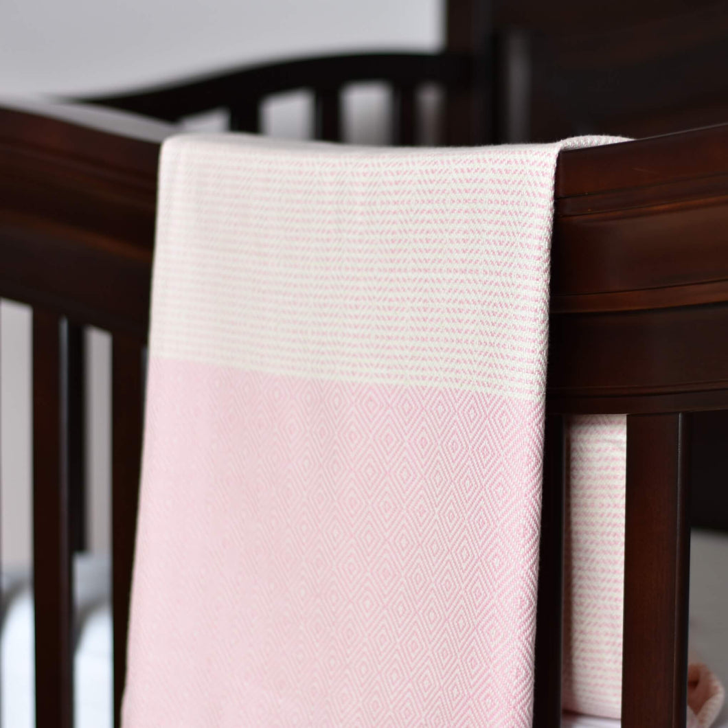 Baby Blanket - Diamond Stripe - Light Pink