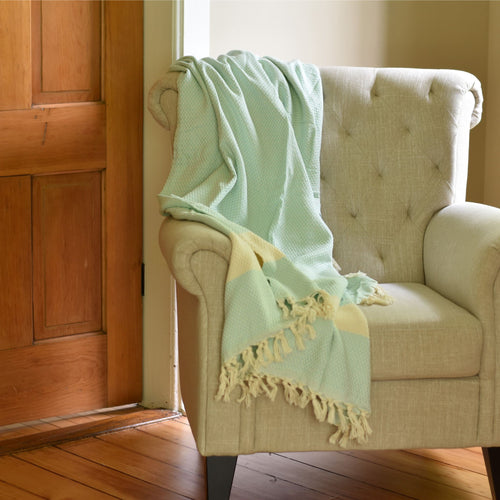 Throw Blanket - Basket Weave - Mint