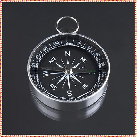 Wholesale-2pcs 44mm Diameter Mini Aluminum Camping Compass