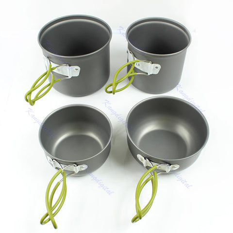 Outdoor Cookware Camping Cooking Picnic Bowl Pot Pan Set 4pcs