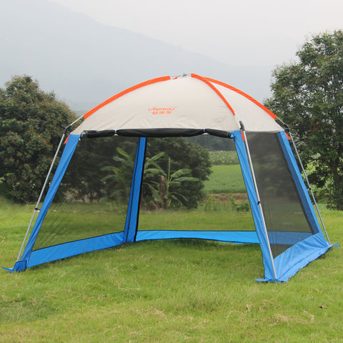 Outdoor recreation sun awning tent double canopy large camping Summer beach tent 6 persons waterproof folding gazebo for garden