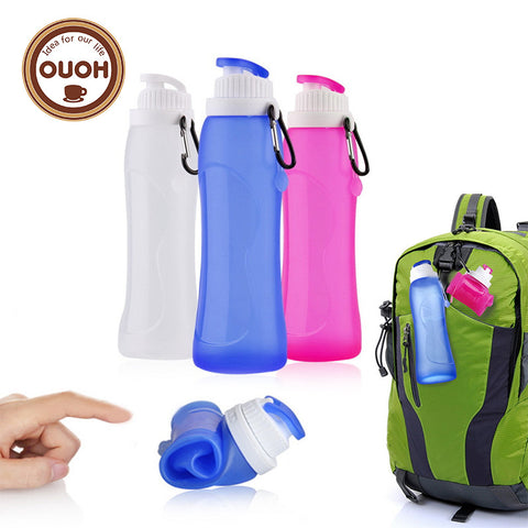 Collapsible Foldable Silicone drink Sports Water Bottle