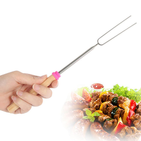 Stainless Steel Wooden Handle Telescoping Roasting Fork