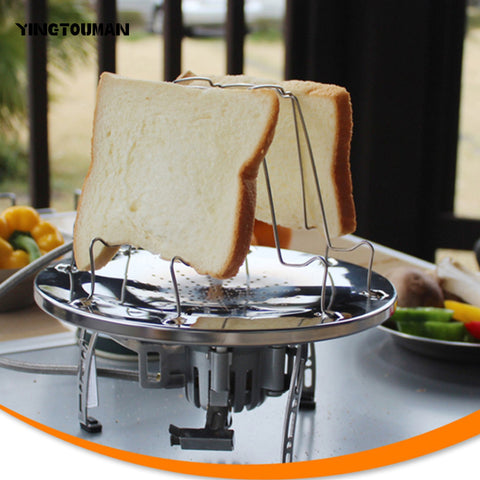 YINGTOUMAN  Camping Toaster Rack 4 Slice Toast Tray for Gas Stoves Cooker Outdoor Picnic BBQ Foldable Bread & Loaf Pan Dish