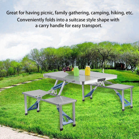 Outdoor Garden BBQ Aluminum Portable Folding All-in-one Camping Picnic Table with 4 Seats Suitcase