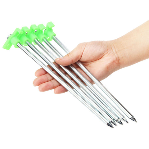 Luminous Tent Nail Glow Outdoor Camping 25CM Strengthen Tent Accessories stainless steel Tent peg 6 pcs