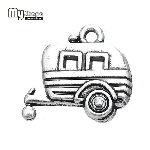 Antique Silver Plated Camping Trailer Charm Travel Pendant 20pcs lot