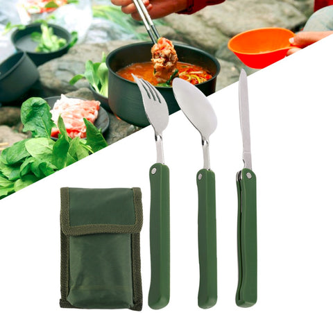 Portable Folding Camping Tableware Folding Fork Spoon Knife