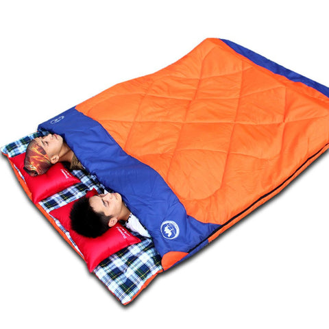 Splicing Double Sleeping Bag Luxury 3-in-1 Lovers Outdoor Travelling Camping Sleeping Bag Wear Resistant Sleeping Bag CS0221 New