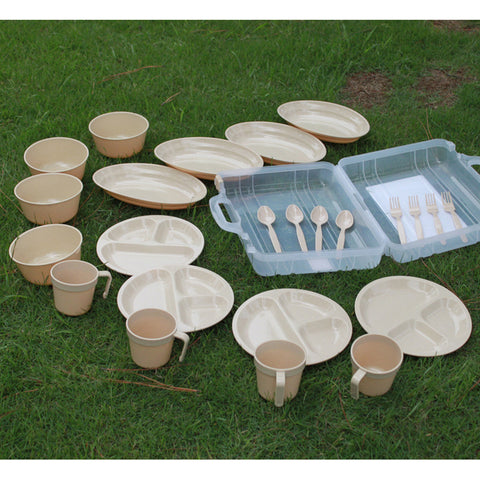 Camping Outdoor Plastic Reusable Tableware 24 Pcs