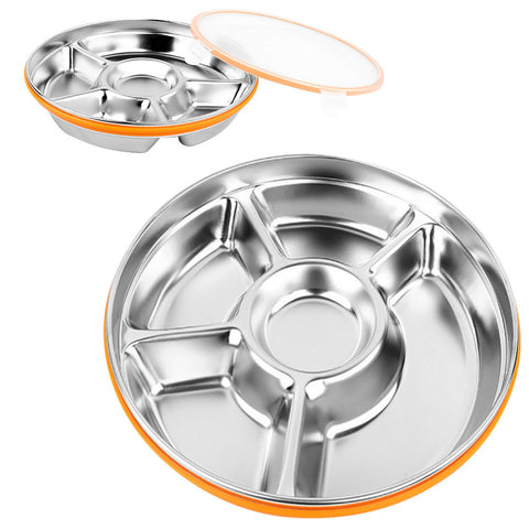 Stainless Steel Dinner Plate Outdoor Picnic Lunch Box Round Fast Food Eco-Friendly Sub-Grid Plate Dish For Children