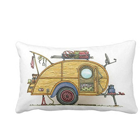 Vintage Teardrop Camper Throw Pillow