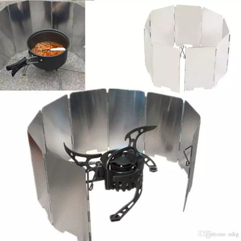 Portable Foldable Mini 9 Plates Gas Stove Wind Shield Screen Alloy