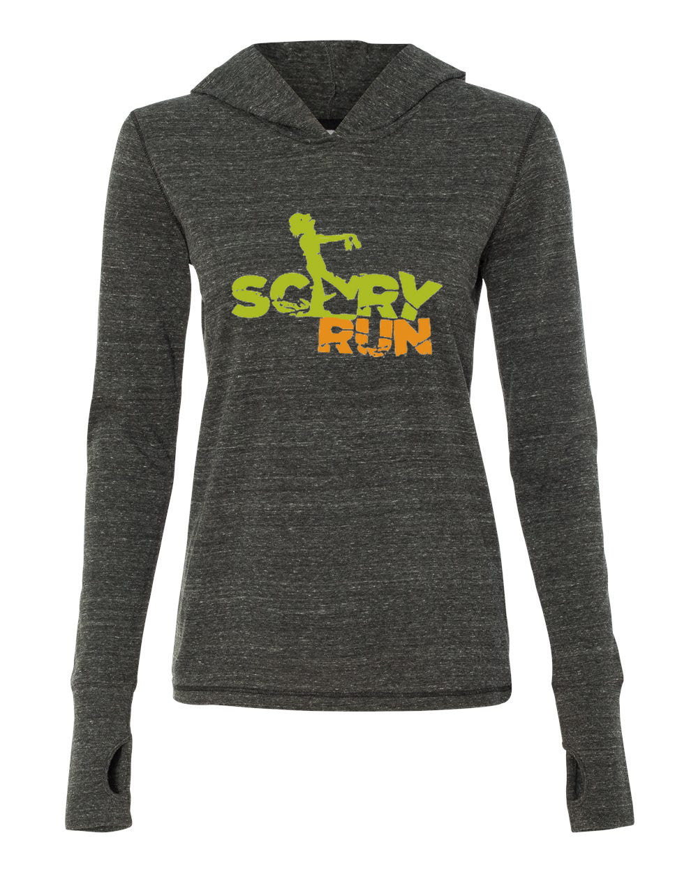Women's Performance Long Sleeve Hooded Pullover Shirt - Scary Run