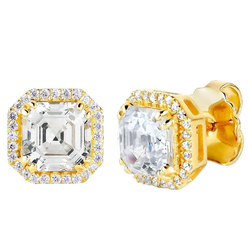 18 KGP 3 Carat Clear Asscher Cut Studs with Halo