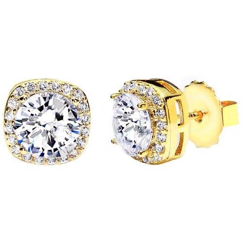 18 KGP 3 Carat Clear Cushion Cut Studs
