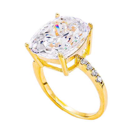 Sterling Silver 4 Carat Fancy Intense Yellow Pear Shaped Ring