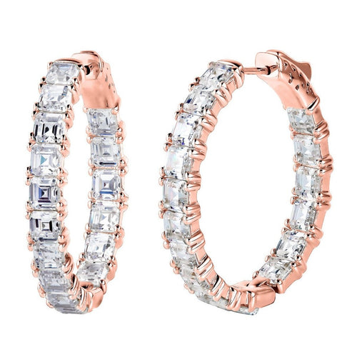 "18 KGP Rose Gold 1.25"" Asscher Cut Oval Couture Hoops"