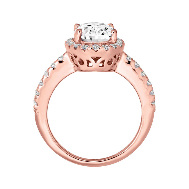 18 KGP Rose Gold 2.5 Carat Oval Ring