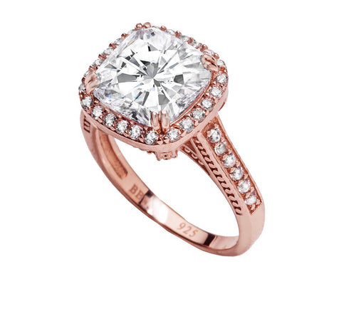 18 KGP Rose Gold 3.5 Carat Square Cushion-Cut Ring